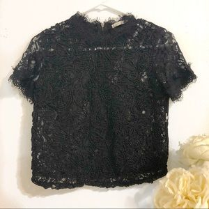 Zara Lace Embroidered Black Top in S